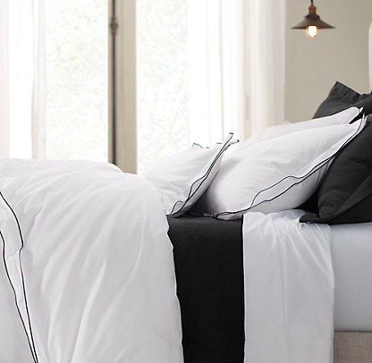 New Italian Tipped Satin Stitch Bedding Collection