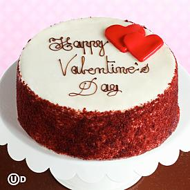 Red Velvet Happy Valentine's Day Cake