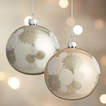 Winter White Lace Ball Ornaments